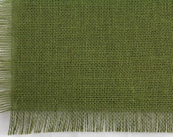 "Olive Green Burlap Table Runner 24""x108"" with fringe, fine weave, rustic country weddings, home decor. Available in other colors.(BF-L09)"