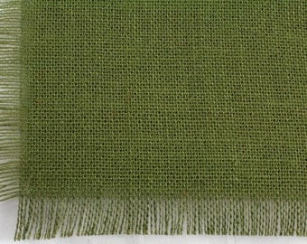 """Olive Green Burlap Table Runner 24""""x108"""" with fringe, fine weave, rustic country weddings, home decor. Available in other colors.(BF-L09)"""