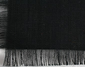 "Black Burlap Table Topper 48""x48"" with fringe, fine weave, rustic country weddings, home decor. Available in other colors.(BF-T20)"