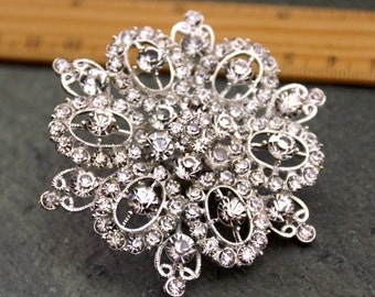 Large Rhinestone Brooch Pin Pearl Crystal Bridal Brooch Silver Sparkling Wedding Brooch FB106
