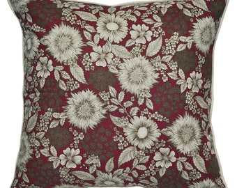 Burgundy Floral Cushion Cover. Pillow Cover.