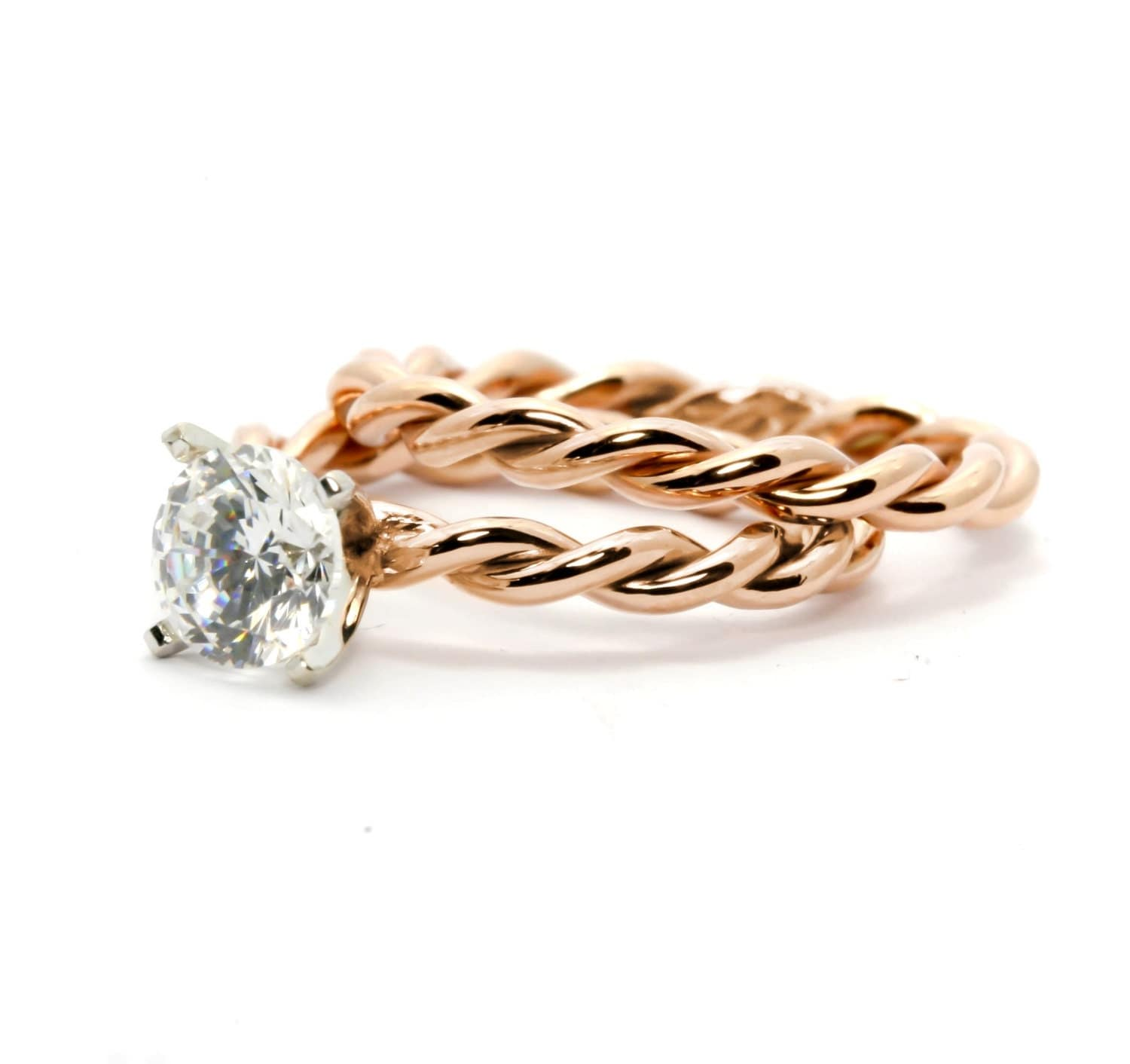 twisted rope engagement ring and wedding band set