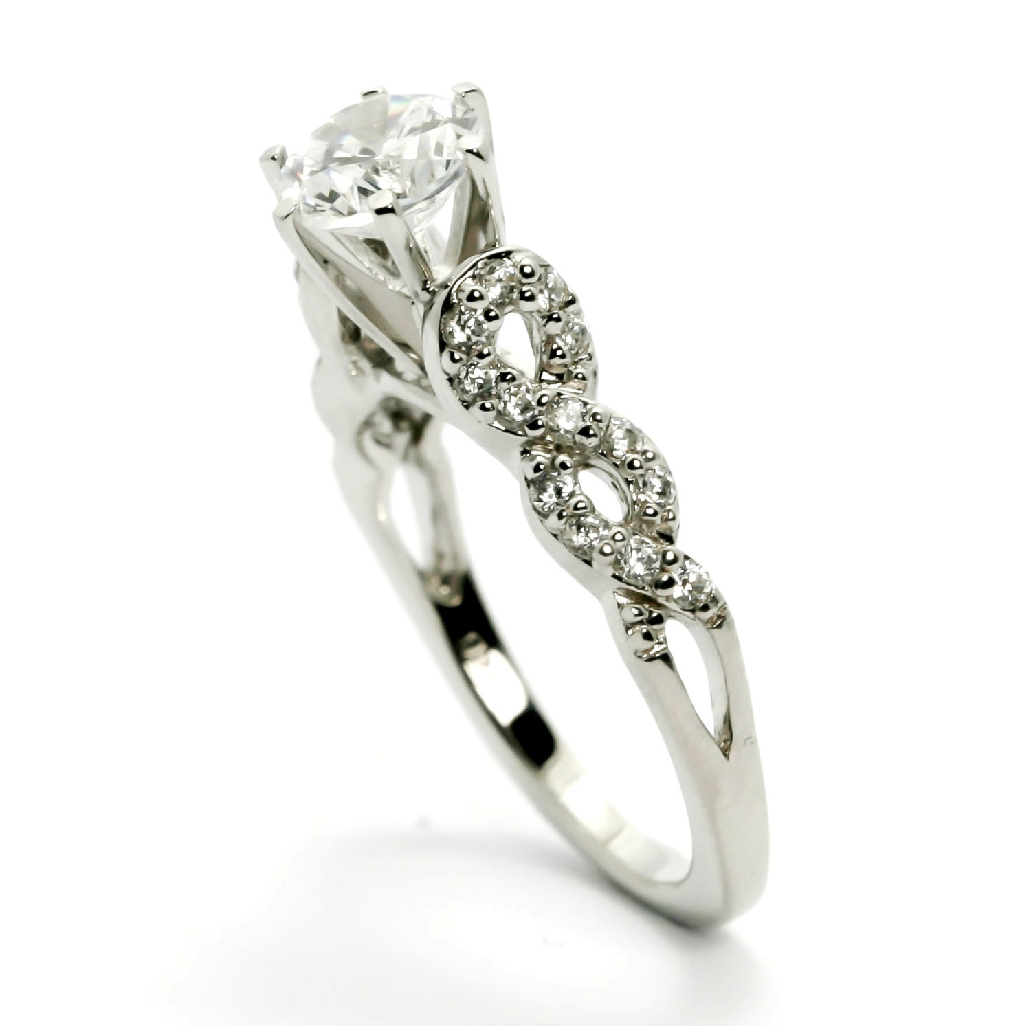 moissanite engagement ring unique 1 carat forever brilliant