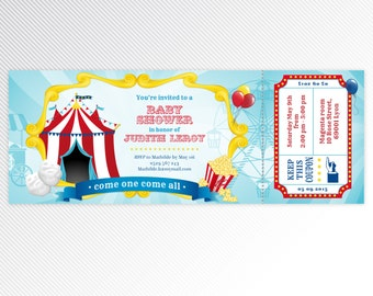 Turquoise carnival / circus baby shower printable ticket invitation