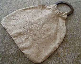 Beige Toffee Retro Cotton Sateen Beaded Tote Purse
