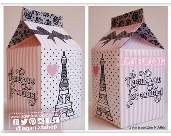 Paris Favor Box, Eiffel Tower Party, Baby Shower, Bridal Shower, Pink, Black Lace, Favour Milk Box Carton, Printables