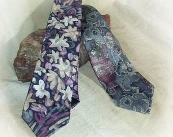 Set of 2 Vintage Neckties / Set of 2 1980s Neckties / Andhurst Floral & Leaf Necktie / Meeting Street Silk Tie / Made in USA Ties for Men