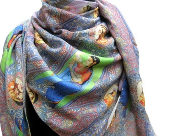 Multicolored painting scarf in cotton silk.Free shipping.