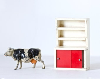Retro Kitchen Cabinet - Vintage Doll's House Miniature - Red and White