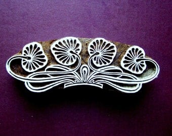 Lotus Border Stamp Hand Carved Art Nouveau Indian Print Block (B80)