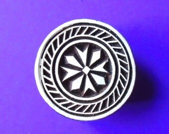Round Wood Stamp Indian Round Textile Pottery Stamp Print Block