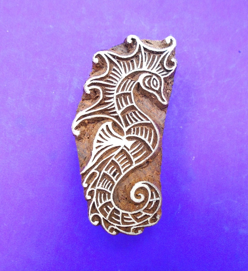 Seahorse hand carved wood stamp animal indian by
