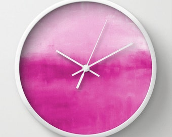 Wall Clock Abstract Fuchsia Magenta Print Modern Wall Decor Contemporary Home Decor Abstract Art