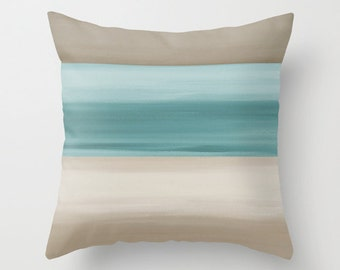 Abstract Throw Pillow  Cover Taupe Muted Teal  Modern Home Decor Living room bedroom accessories Cushion Cover Decorative Pillow Cover