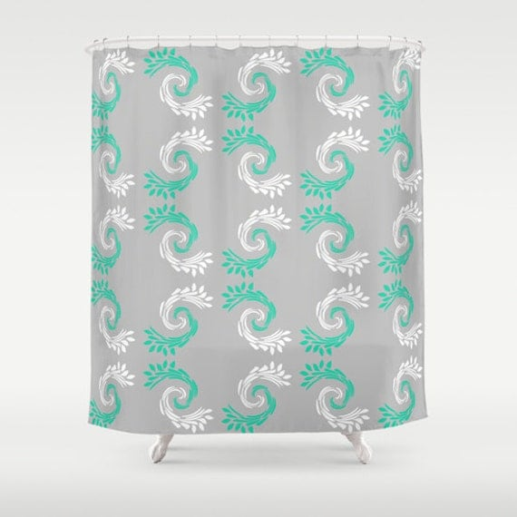 Items similar to shower curtain turquoise grey white for Turquoise and grey bathroom accessories