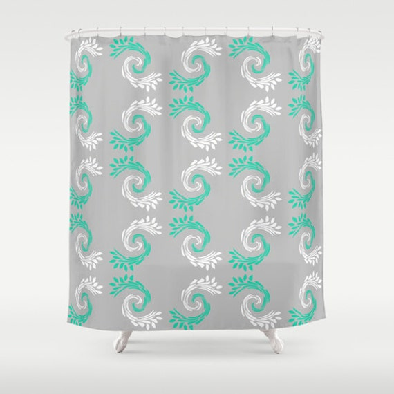 Items similar to shower curtain turquoise grey white for Turquoise and gray bathroom accessories