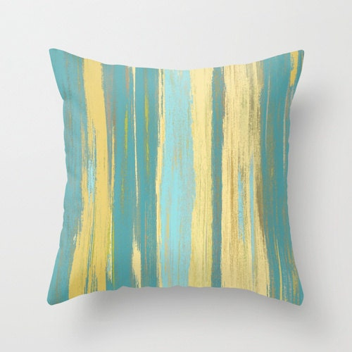 Modern Teal Decorative Throw Pillow : Yellow Teal Throw Pillow Cover Abstract Ombre Modern Home