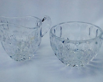Vintage Cut Crystal Sugar Bowl and Creamer Set Wedding Formal Anniversary Decorative