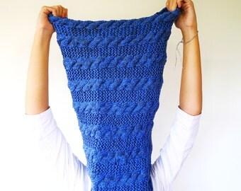 bufanda de tubo en punto de ochos hecha a mano cuello lana azul para mujer
