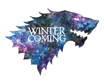 Game of Thrones Painting   Watercolor Stark Sigil   Winter is Coming   Symbol Print Galaxy Painting