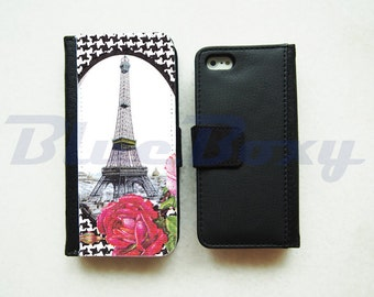 Eiffel Tower with Rose Wallet Case for iPhone 7, iPhone 6, iPhone 6s, iPhone 6 Plus, iPhone 5, iPhone 5s, iPhone 4/4s, Leather Wallet Case