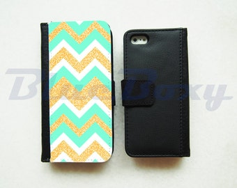 Mint and Gold Glitter Chevron Case for iPhone X, iPhone 8, 8 Plus, iPhone 7, iPhone 6/6s, iPhone 6 Plus, iPhone 5/5s, iPhone 4/4s, Flip Case