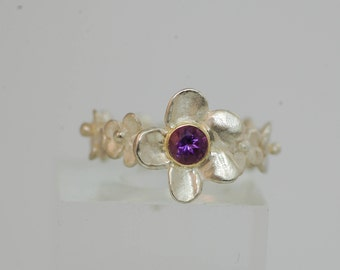 Sterling Silver Amethyst Flower Ring