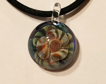 Handmade glass floral implosion  pendant