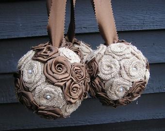 Wedding Pomander Balls, Burlap Kissing Balls, Wedding Pew Decoration, Flower Girl Pomander, Wedding Aisle Decorations, Burlap Kissing Balls