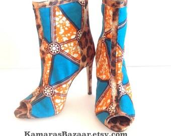 Ankara Shimmer Leopard Peep Toe Shoes
