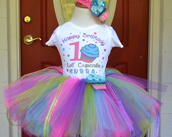 Cupcake Cutie Tutu Skirt and Printed Tee with Matching Hair Clip for Baby Showers Birthdays, Pageants, Photos