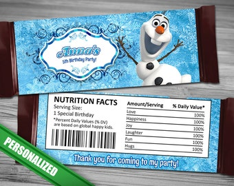 Olaf Frozen Candy Bar Wrappers - PERSONALIZED Disney Olaf Frozen Candy Bar Wrappers - Olaf