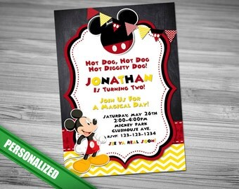 MICKEY MOUSE INVITATION, Mickey, Invitation, Mickey Invitation, Birthday, Mickey Mouse Invitation, Mickey Birthday Party Invitation