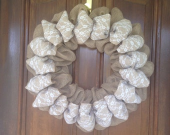 Fancy Burlap and Lace Wreath by Forest Edge Boutique.