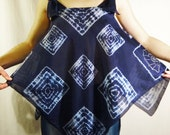 Shibori top Summer dress Hand dyed Silk cotton tunic tank cover-up Blue White top blouse clothes Bohemian clothing Boho Resort beach wear