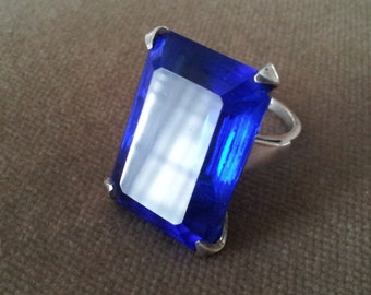 Vintage Sterling Cobalt Blue Glass Ring, Huge Uncas Sterling Ring, Size 6.5