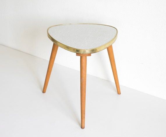 Vintage Mid Century Modern Plant Stand Small Atomic Triangular Table ...