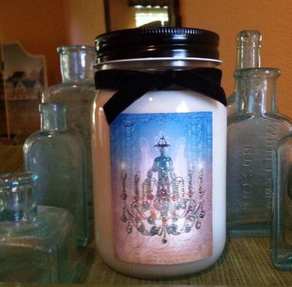 Crystal Chandeliers In Shades Of Blue 16oz Mason Jar Soy Wax