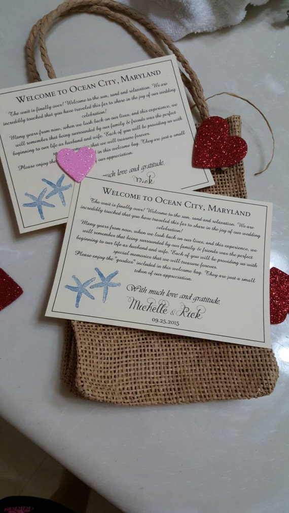 ... wedding welcome card, beach wedding thank you card, hotel gift bags