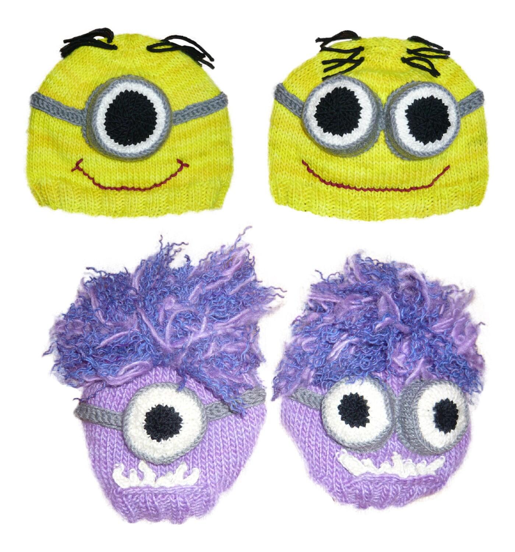 Despicable Me Minion Hat Knitting Pattern pdf yellow