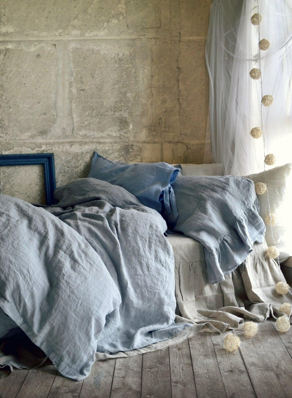 light grey stonewashed luxurious linen duvet cover quilt. Black Bedroom Furniture Sets. Home Design Ideas