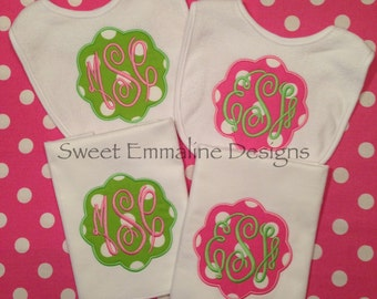 Personalized Applique and Monogrammed Baby Bib and Burp Cloth Set