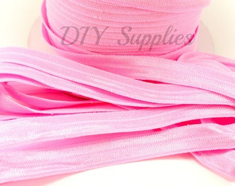 NEW SIZE 3/8 Pink elastic, FOE, Wholesale foldover elastic, headband elastic, fold over elastic, diy hair ties, elastic by the yard