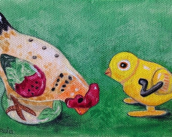 """Still Life Painting, Original oil, Realism """"Wind up Chicken Toy & Salt shaker"""" 4x6 Fanciful art, green/yellow painting, Whimsical, Humorous"""
