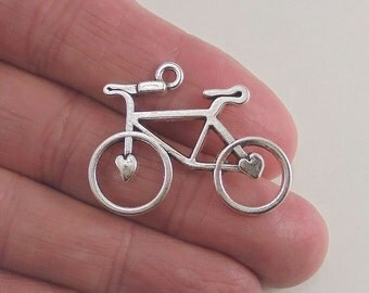 5 pc. Bicycle charm, 30x23mm, antique silver finish