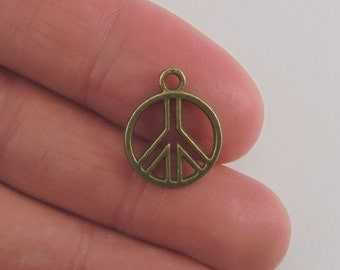 10 pc. Peace Sign charm, 16x13mm, antique bronze finish
