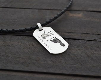 Baby handprint or footprint Pendant - father necklace - Custom and Personalized