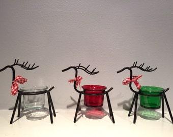 Reindeer Tea Light Holder - Winter Candle Holder - Christmas Candle Holder - Holiday TeaLight Holder - Glass Candle Holder - Christmas Decor