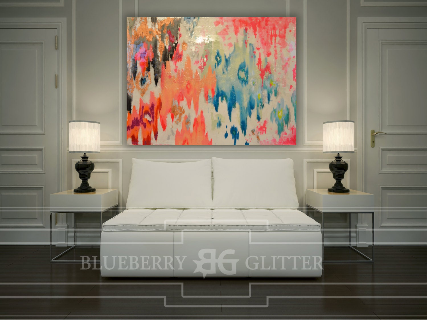Sold Acrylic Abstract Art Large Canvas Painting Gray Pink