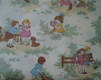 "Half yard of 31035-60 Lecien Petite Marianne Retro Children Fabric on Ivory Background. Approx.18""x 44"" Made in Japan"